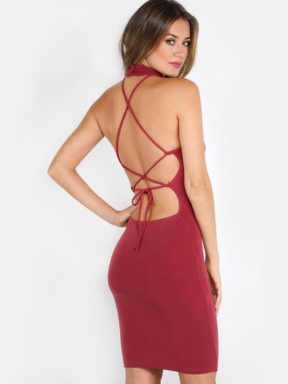 Strappy Choker Dress RUST