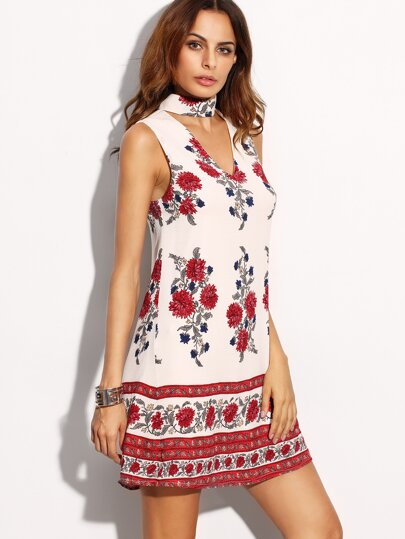 White Flower Print Cutout Choker Neck Dress