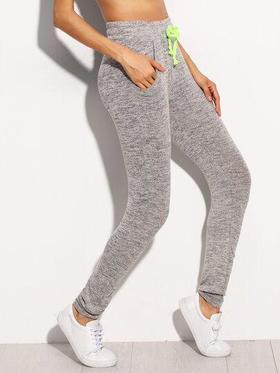 Grey Marled Knit Skinny Drawstring Pants