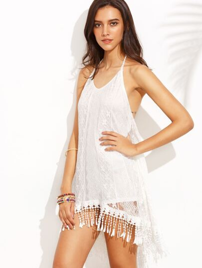 White Halter Backless Lace Overlay Asymmetrical Dress