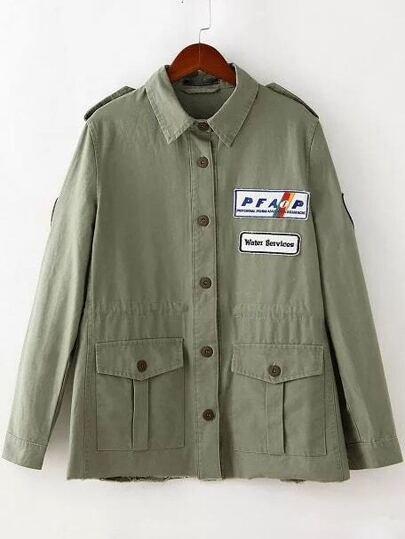Army Green Pocket Applique Jacket