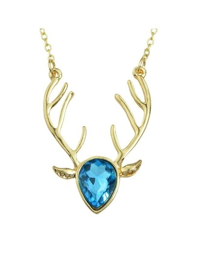 Lightblue Rhinestone Deer Pendant Necklace