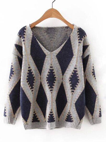 Navy V Neck Geometric Printed Sweater