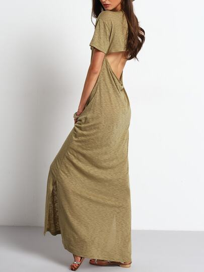 Army Green Cut Out Backless Split Maxi Dress