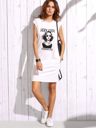 Portrait Print Cap Sleeve Tee Dress