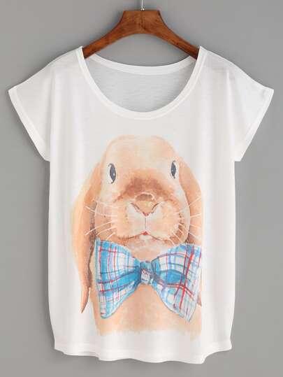 White Rabbit Print T-shirt