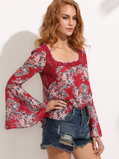Red Flower Print Lace Insert Bell Sleeve Blouse