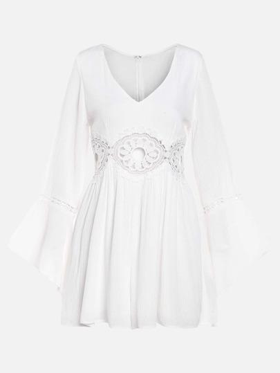 White Crochet Hollow Out Zipper Bell Sleeve Dress