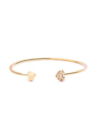 Gold Clear and Rhinestone Heart Open Bangle