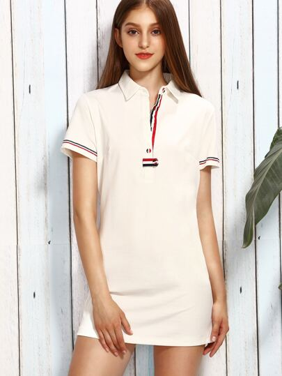 Beige Lapel Stripe Trim Button Casual Dress