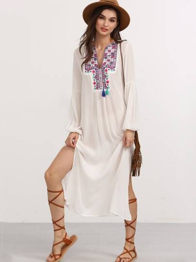 White Embroidered Tassel Long Sleeve Split Dress