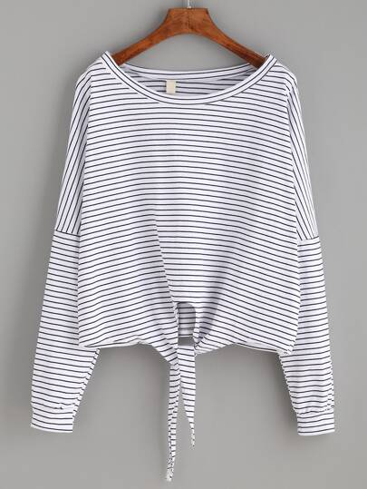 Striped Tie Front Dropped Shoulder Tee
