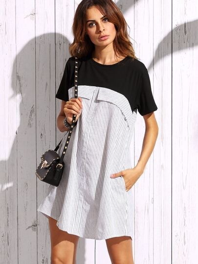 White Vertical Striped Contrast Yoke Dress