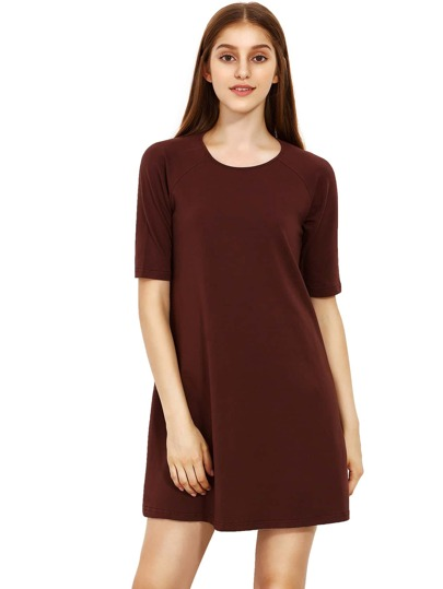 Coffee Round Neck Inch Half Sleeve Loose Dress