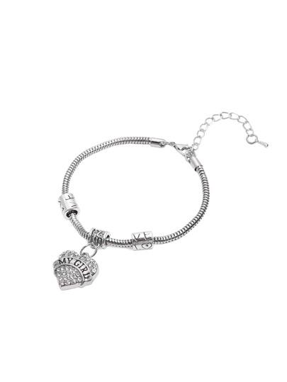 Silver Rhinestone Heart Shaped Letters Print Bracelet
