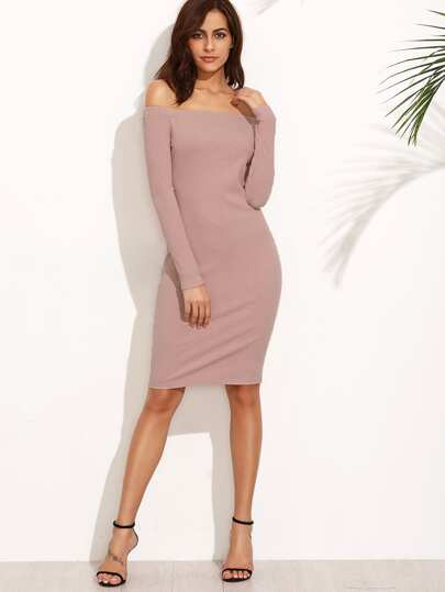 Pink Off The Shoulder Long Sleeve Sheath Dress