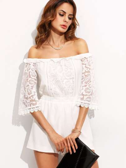 White Off The Shoulder Perspective Sleeve Jumpsuit