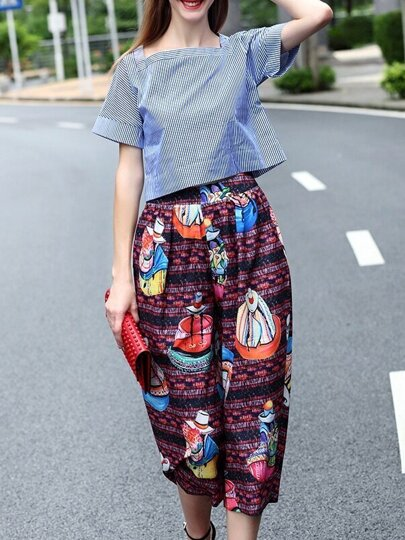 Multicolor Boat Neck Striped Top With Print Pants