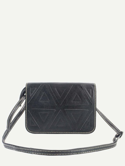 Black Triangle Patch Flap Bag