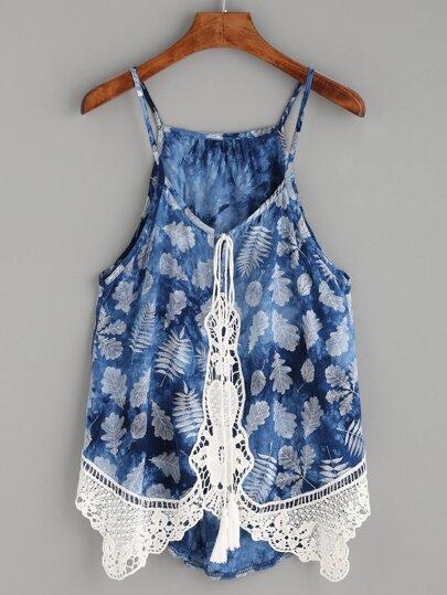 Blue Crochet Trim Leaf Print Cami Top