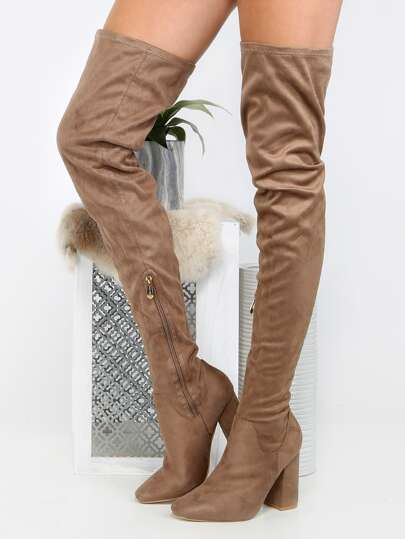Square Toe Block Heel Thigh Boots TAUPE