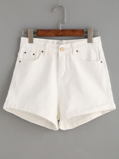 Shorts denim ribete enrollado - blanco