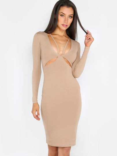 Slinky Plunge Dress BEIGE