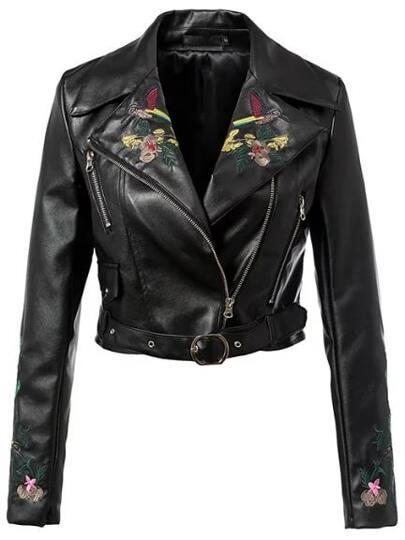 Black Lapel Flower Embroidery Zipper Crop Jacket