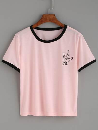 T-Shirt Rifilato Stampato Gesto D'Amore - Rosa Contrasto