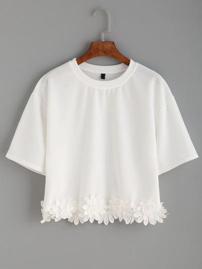 White Flower Crochet Applique T-shirt