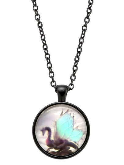 Black Bronze Dragon Print Glass Pendant Necklace