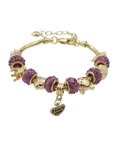 Purple Rhinestone Beads Charms Bracelet