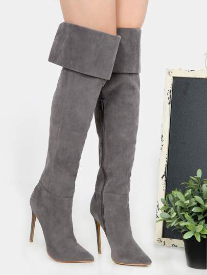 OTK Pointed Toe Suede Boots GREY