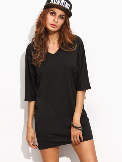 Black Half Sleeve T-shirt Dress