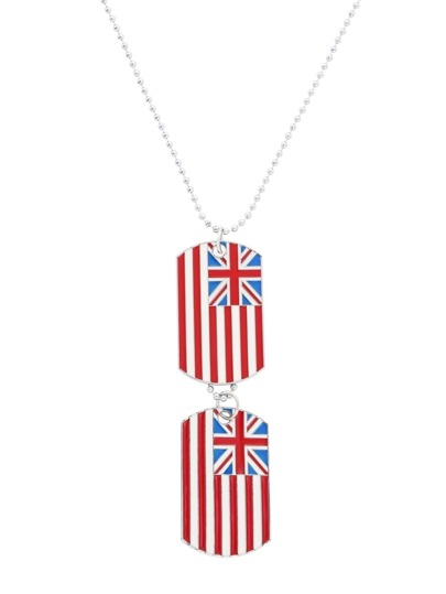 Silver Enamel Grand Union Flag Pendant Necklace