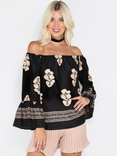 Off The Shoulder Printed Satin Top BLACK