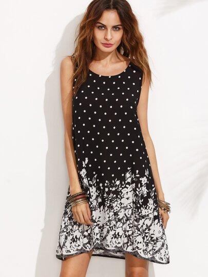 Polka Dot and Floral Print Sleeveless Shift Dress