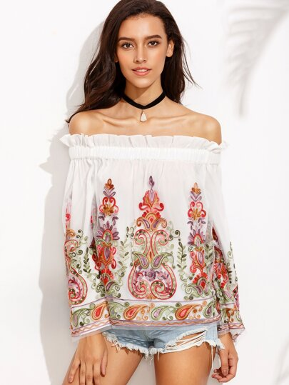 Multicolor Off The Shoulder Embroidered Long Sleeve Blouse