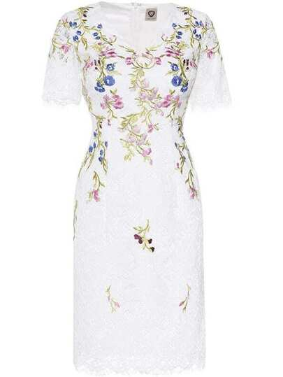 White V Neck Flowers Embroidered Lace Dress