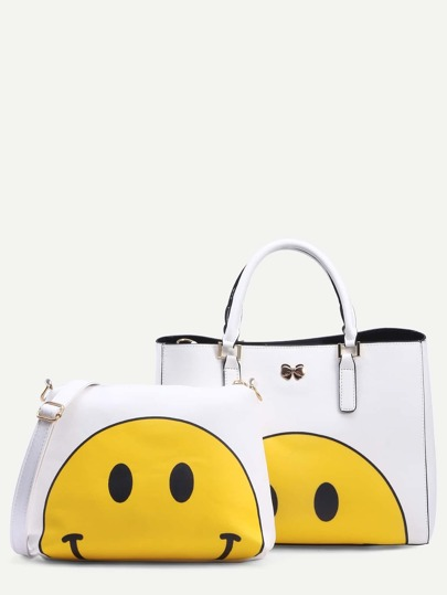 White Smiley Face Print Tote Bag With Crossbody Bag