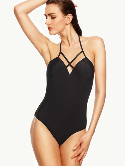 Black Halter Cutout One-Piece Swimwear