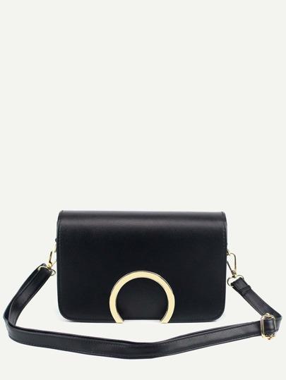 Black Metal Ring Accent Flap Bag