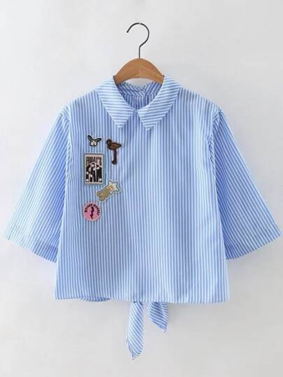 Blue Stripe Knotted Back Applique Blouse