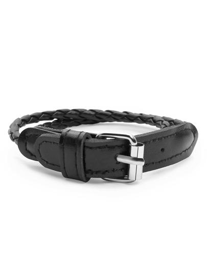 Black Braided Buckle Bracelet