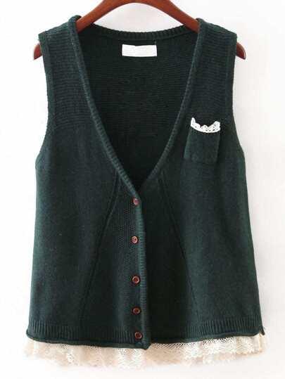 Jasper V Neck Crochet Hem Button Sweater Vest