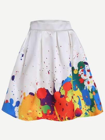 White Paint Splatter Print Box Pleated Skirt