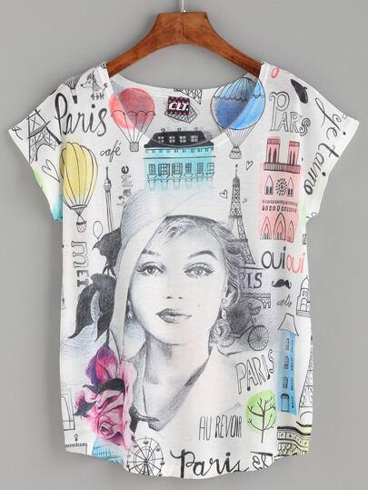 Multicolor Graphic Print T-shirt
