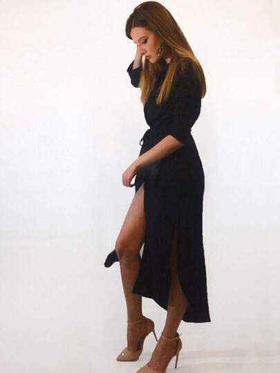Black Lapel Tie Waist Pocket Asymmetrical Dress