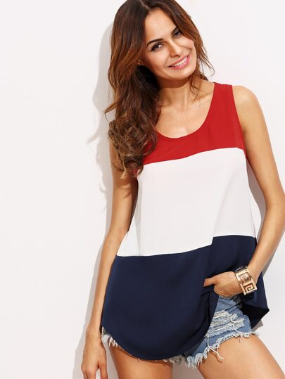 Color Block Round Neck Tank Top