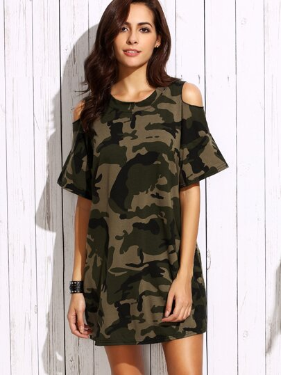Olive Green Open Shoulder Camo Dress